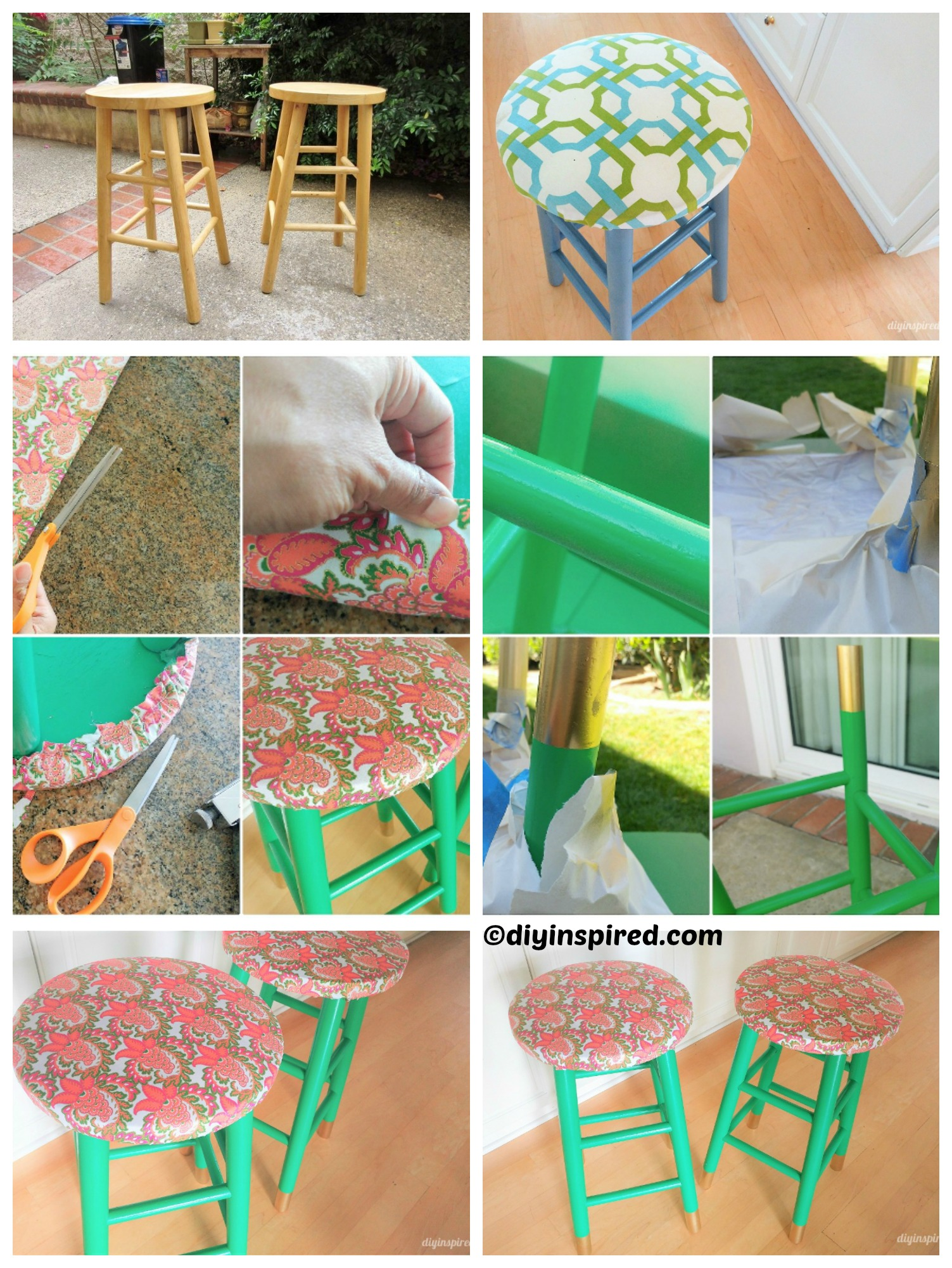 How to make Emerald Green Gold Stool Makeover