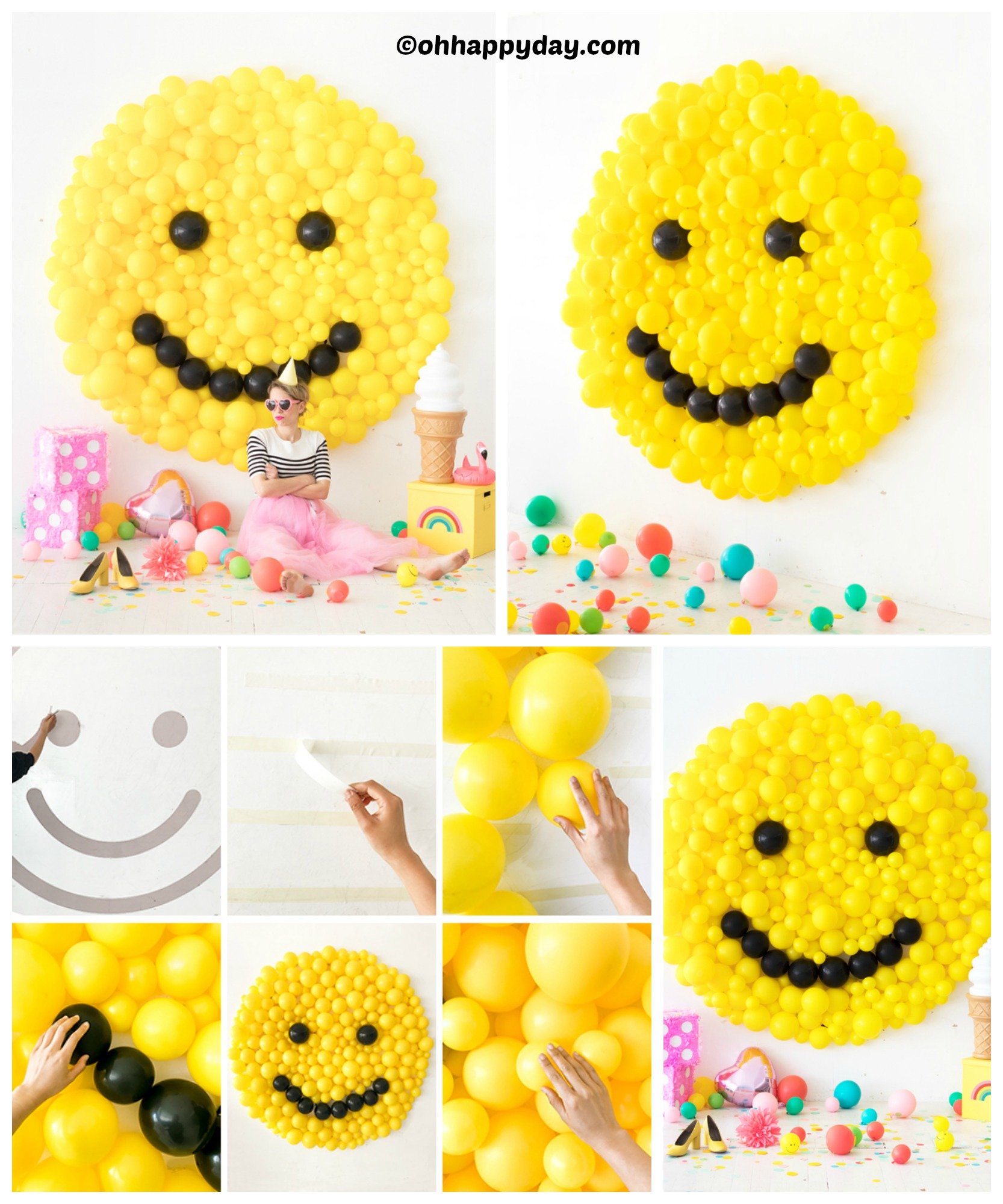 DIY Smiley Face Balloon Wall Art Tutorial - DIY Home Tutorials