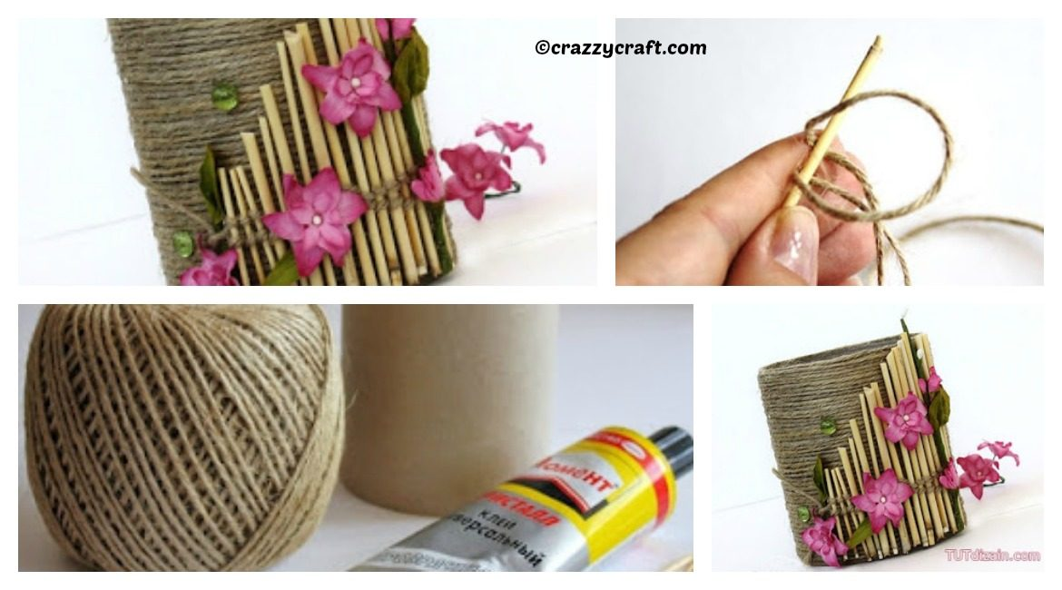DIY Yarn Pencil Holder Tutorial