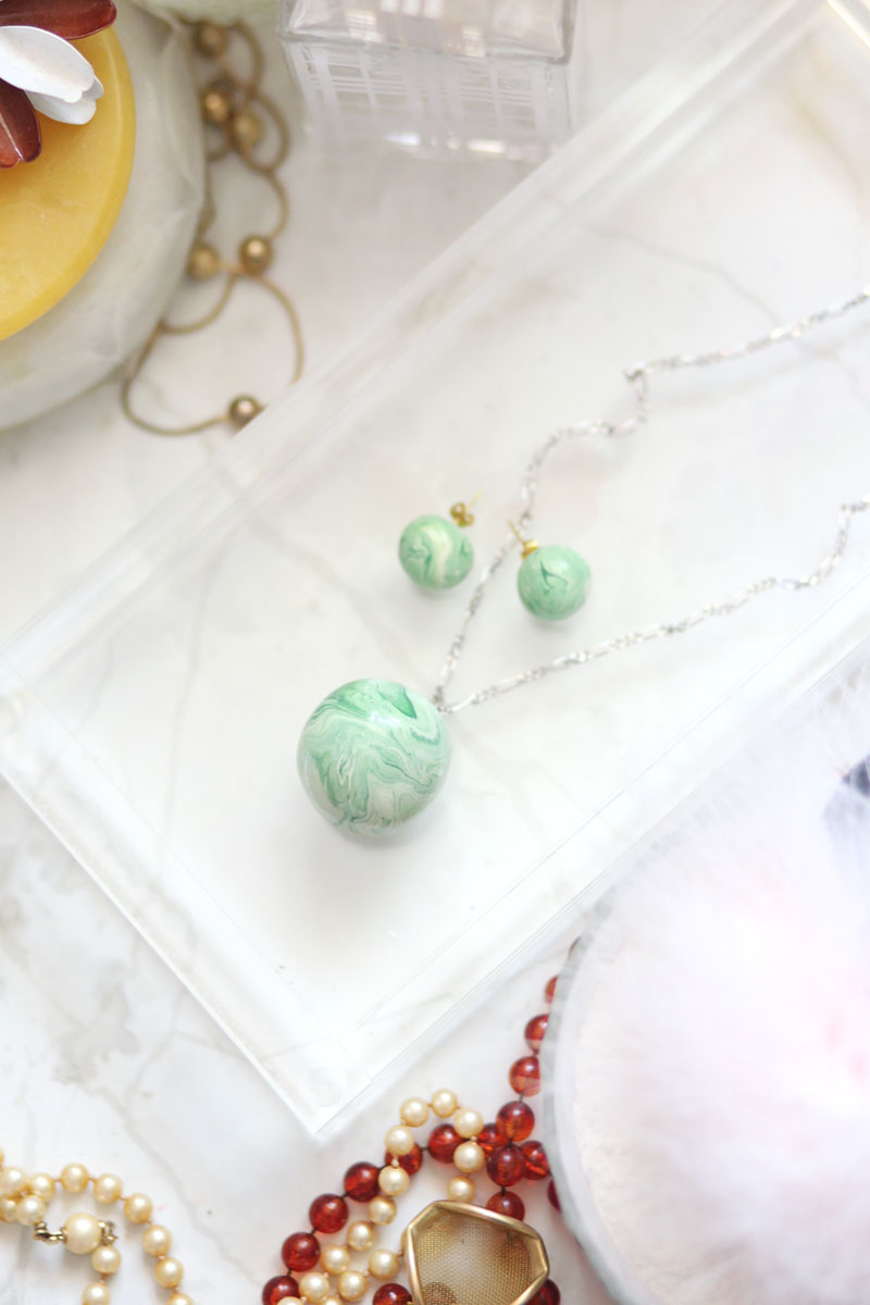 10 - Marble Jade Earrings And Necklace