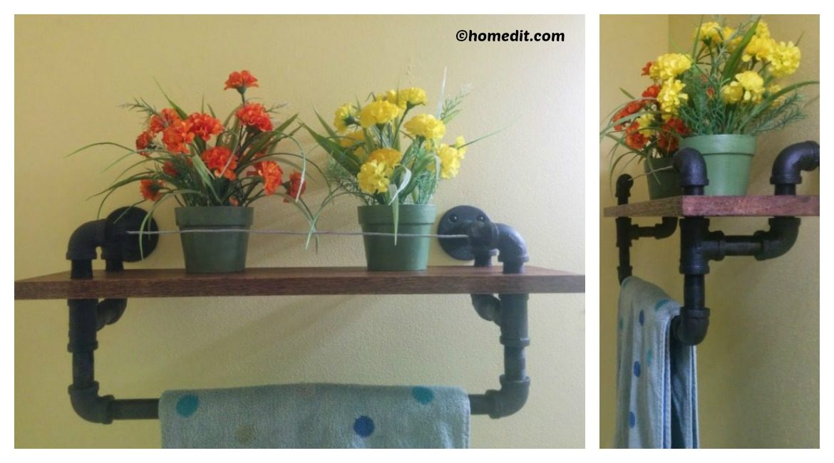 DIY Towel Rack Oak Shelf Tutorial