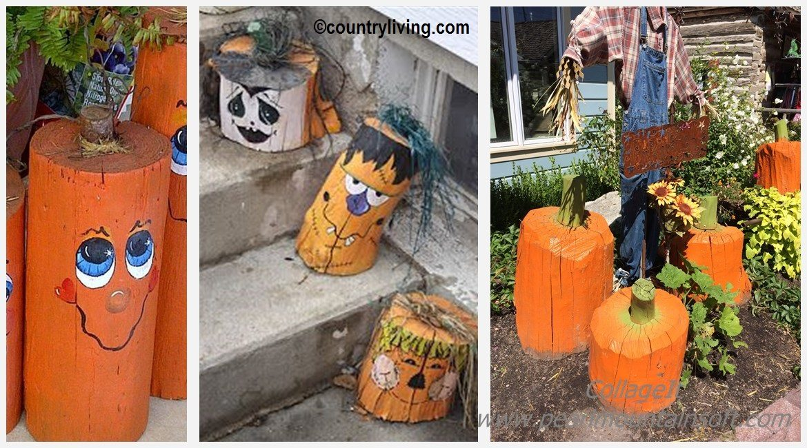 DIY Tree Stump Pumpkins Tutorial