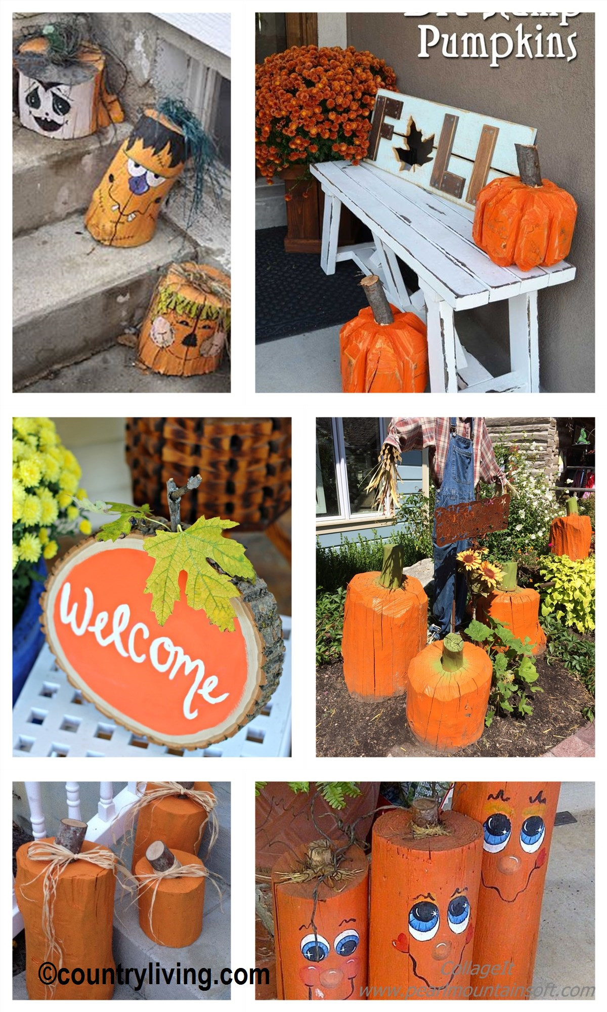 How to make Tree Stump Pumpkins