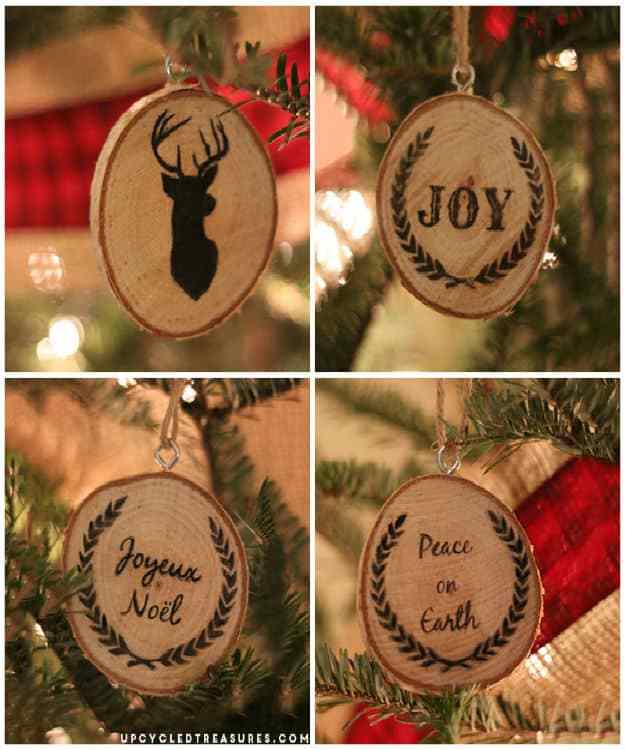 Pen & Ink Wood Slice Christmas Ornaments