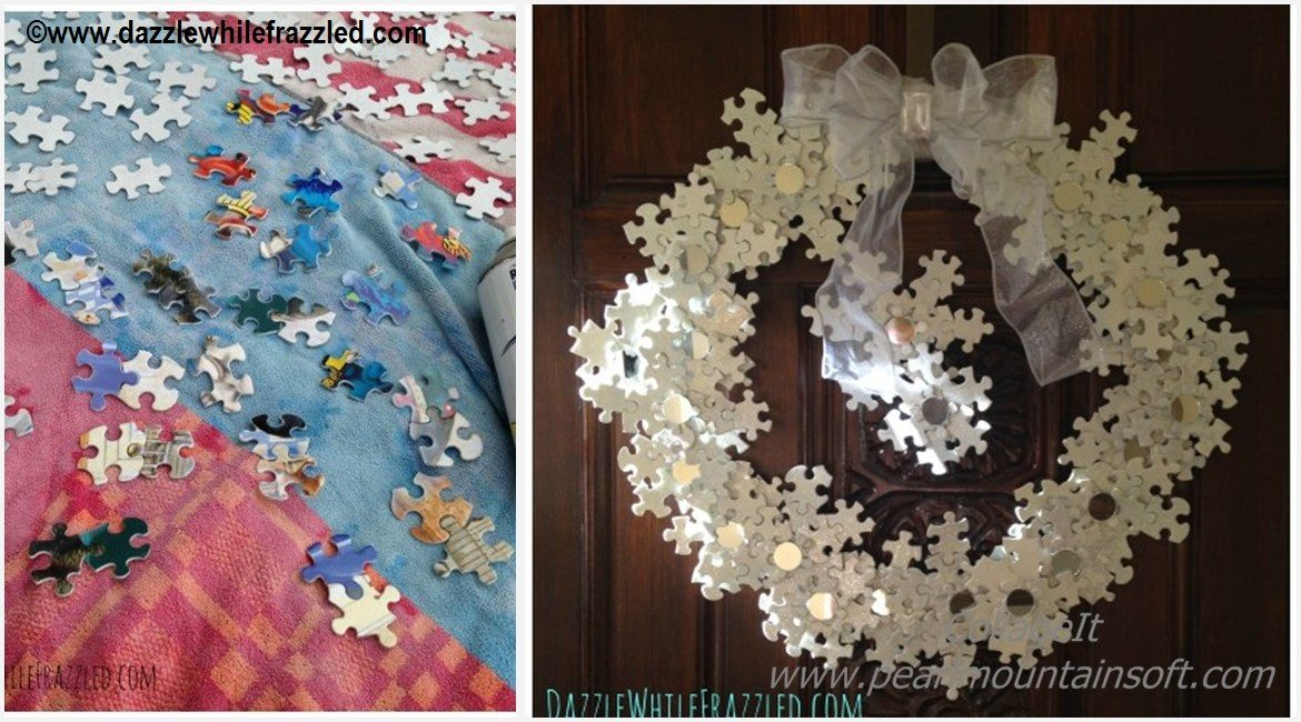 DIY Puzzle Winter Wreath Tutorial