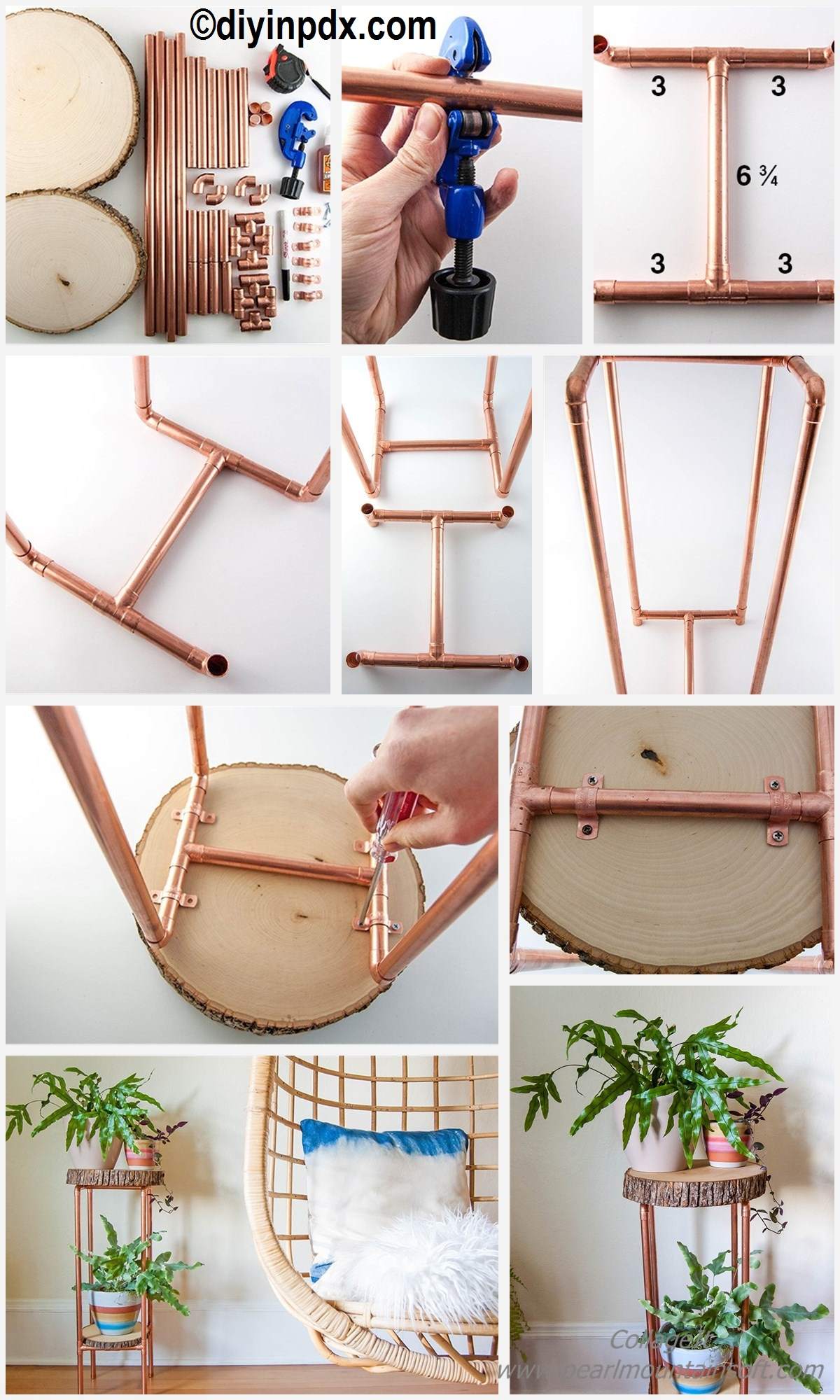 How to make a Copper Pipe Wood Slice Table