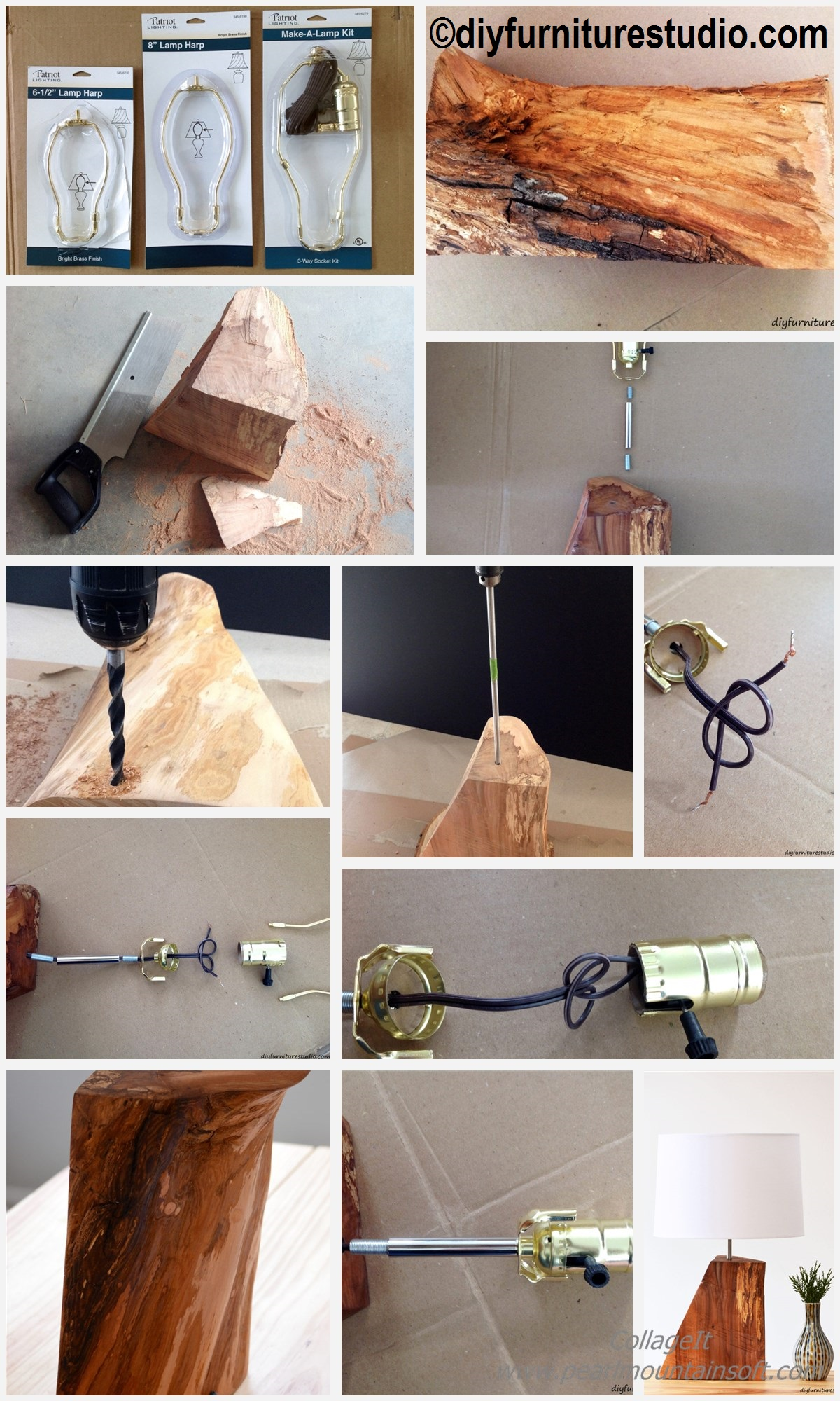 How to make a Natural Wood Table Lamp