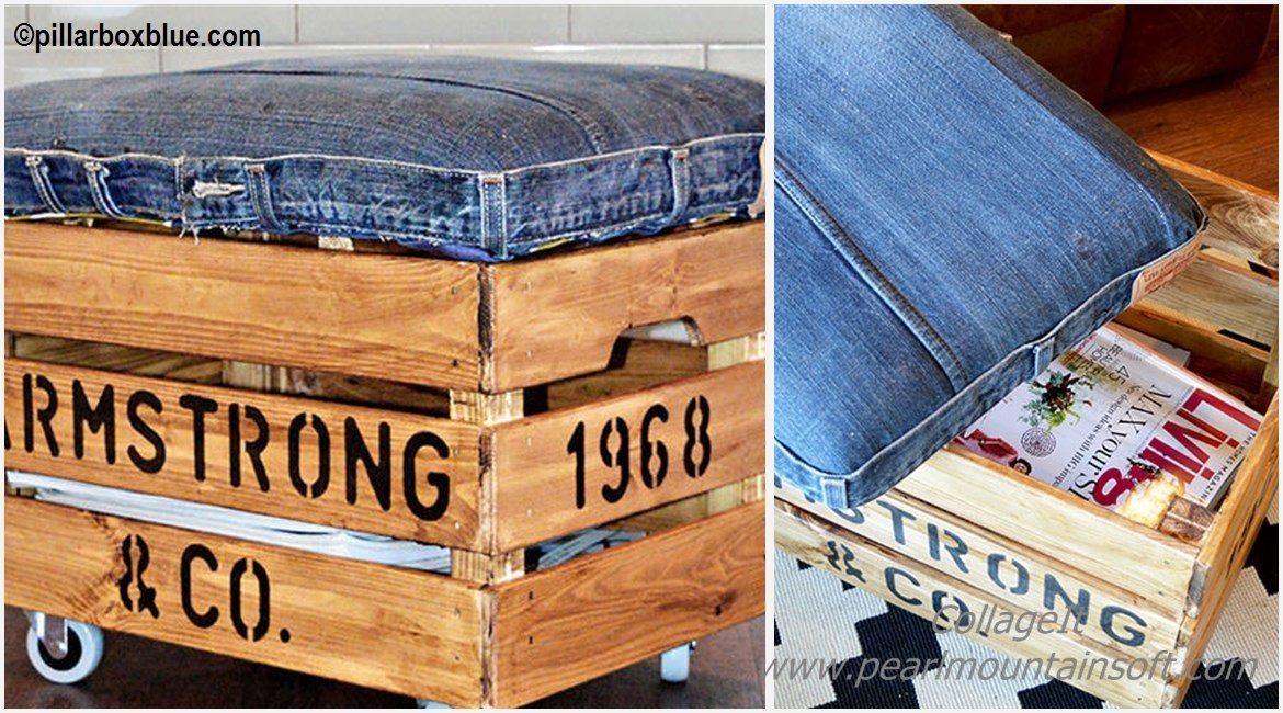DIY Denim Otoman Ikea Tutorial