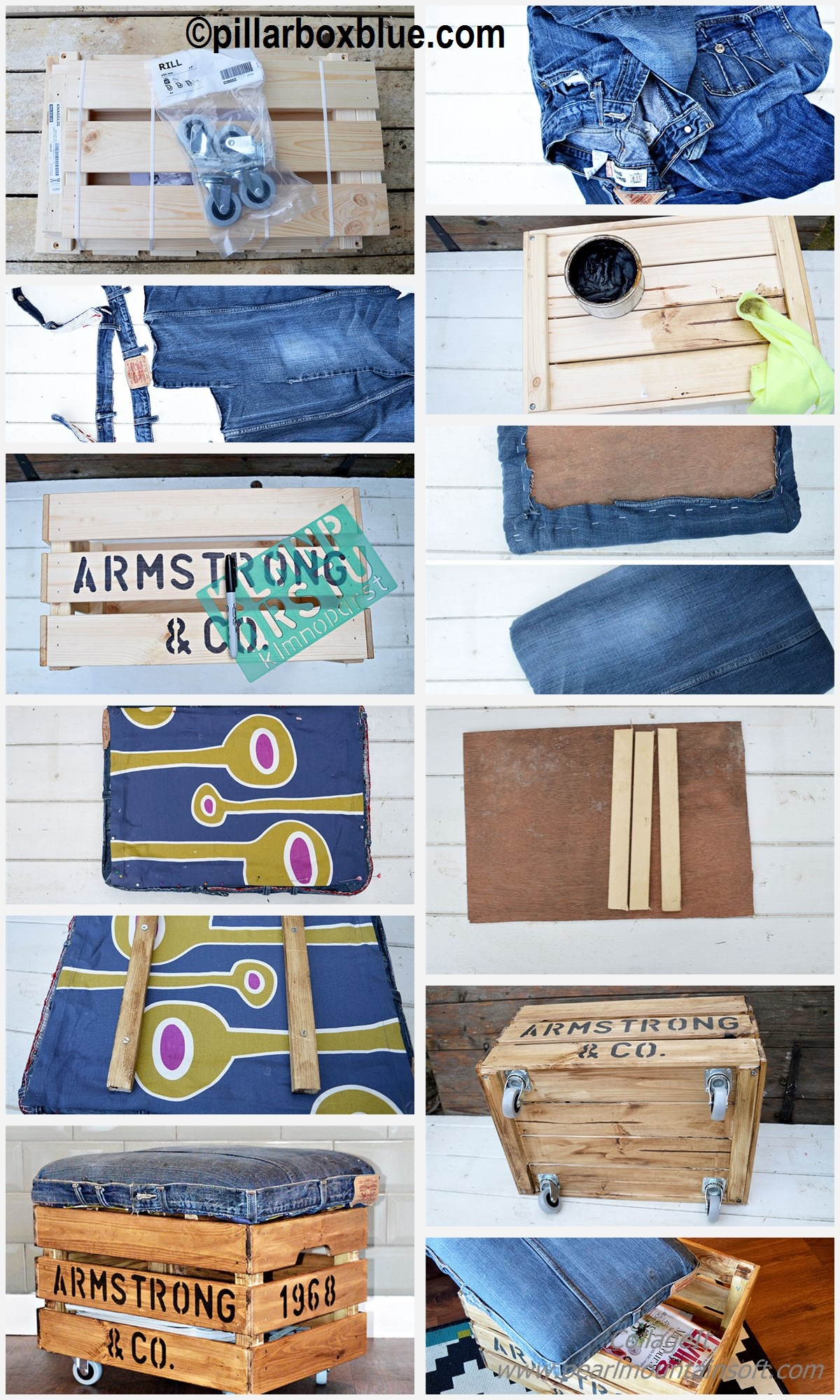 How to make a Denim Otoman Ikea