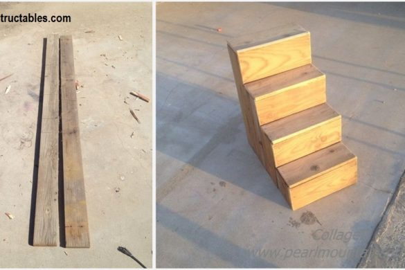 DIY Scrap Wood Dog Stairs Tutorial
